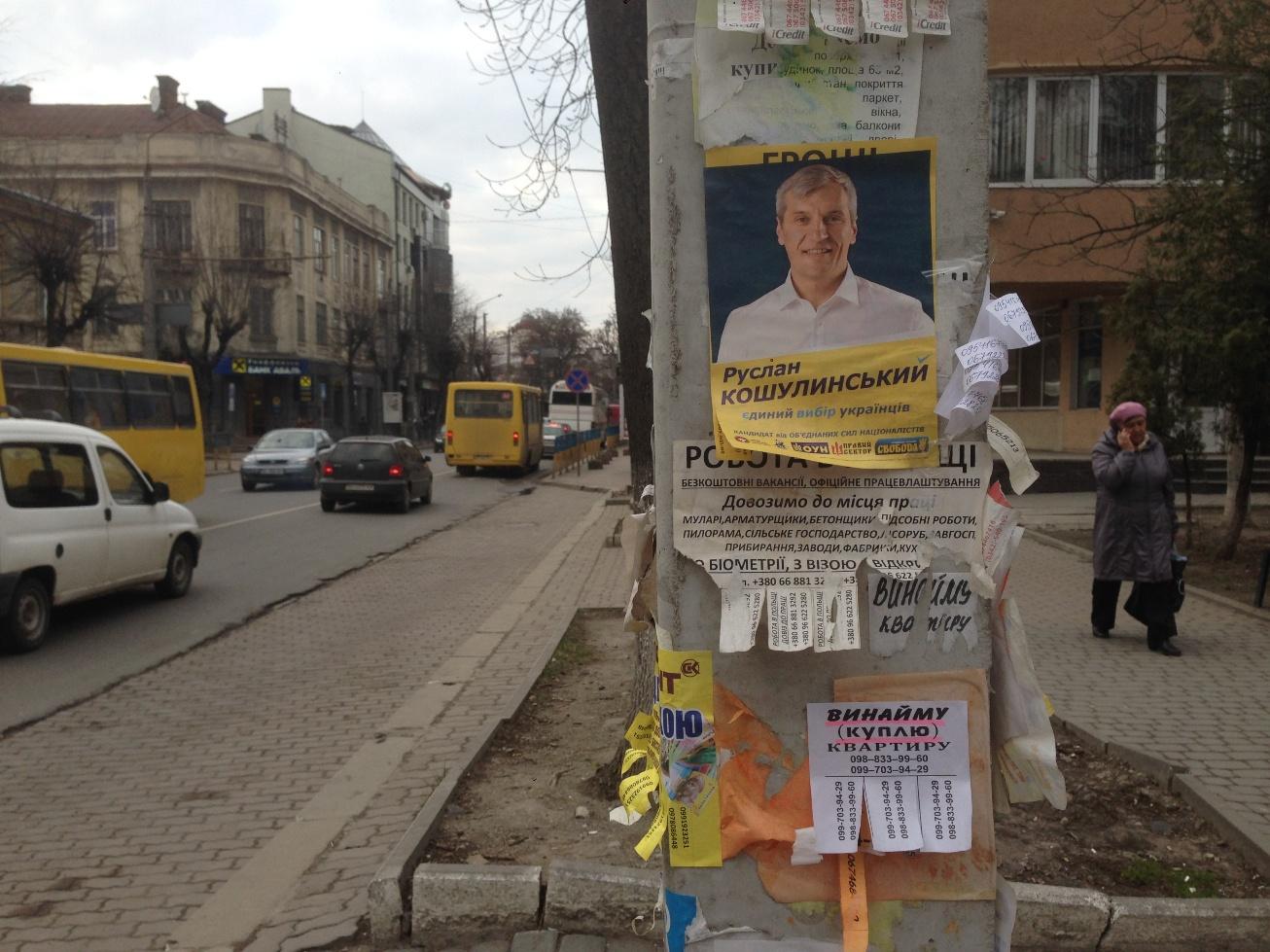 В обленерго скаржаться, що кандидати незаконно рекламуються на їхніх електроопорах